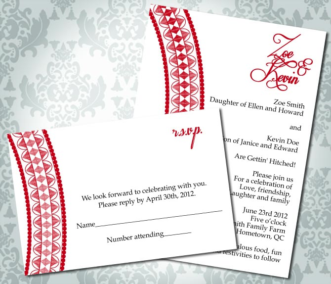 Wedding Invitation Henna Inspired Party Invitation And Rsvp